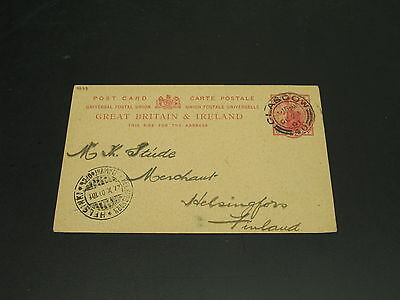 UK 1901 postal card to Finland corner folds *4678