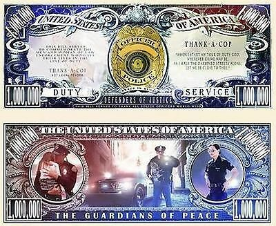 Thank A Cop Million Dollar Bill Collectible Fake Play Funny Money Novelty Note