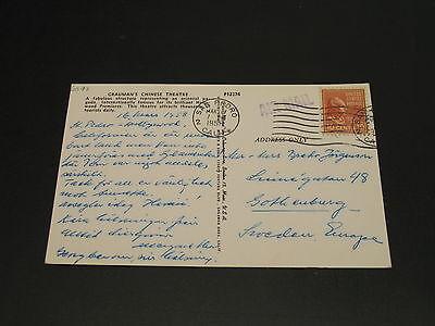 USA 1958 airmail postcard to Sweden *6575