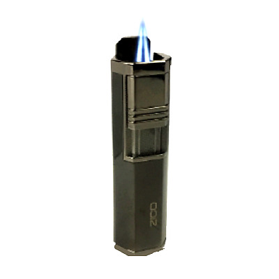 Zico Torch Lighter Twin Jet Flame Gas Refillable Black Cigar Punch T130