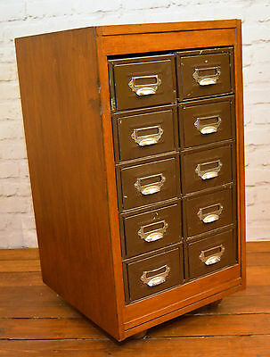 ten draw cabinet metal industrial antique vintage haberdashery office storage