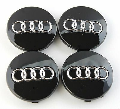 4X New For Audi TT A3 A4 A5 A6 A7 A8 Q3 Q5 Q7 S4 Black Center Hub Cap 4B0601170