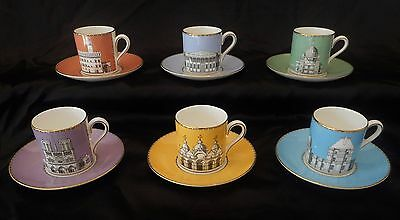 Vintage Boxed 6x Wedgwood Grand Tour Demitasse Cups & Saucers, Perfect condition