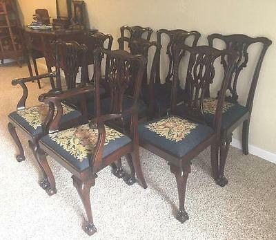 Eight 8 Solid Mahogany Chippendale Ball And Claw, Carved Dining Room Chairs, Set