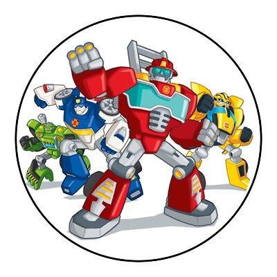 Transformers Rescue Bots Birthday Cake Icing Topper Decoration Round Images
