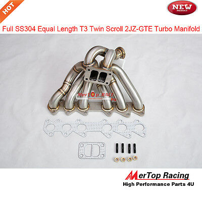 Full SS304 T3 Twin Scroll  Equel length EXHAUST Manifold 93-97 Supra 2JZ-GTE