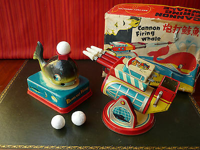 Very Rare Red China ME 635 Shanghai Tin Battery Cannon Firing Whale w/ Or. Box