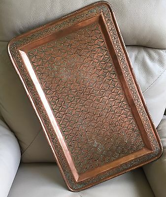 Antique Art Nouveau French Hand Tooled Copper Bar Wine Cocktail Serving Tray