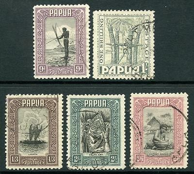Papua 1932 9d - 2/6 Used. SG138 - 142