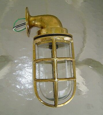 Large Nautical Brass Wall Mounted Ship Passage Light - Rewired