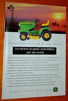 French 1998 John Deere Lt133 Lawn & Garden Riding Mower Tractor Canadian Ad