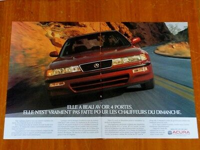 French 1992 Acura Vigor In Dark Red Rare Canadian Ad - 1990S Japanese Luxury Car