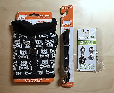 NEW Simply Cat Complete Set: Black Harness, Black Leash, and Collar Charm (x2)