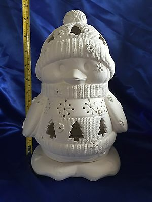 """Ceramic Bisque Christmas Penguin & Base - Cleaned,fired & Unpainted - 11"""""""