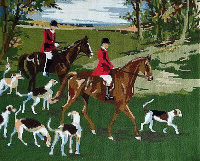 "Vintage Hand Worked Tapestry Hunting Scene 22x18"" Horse Hounds Autumn Fox Hunt"