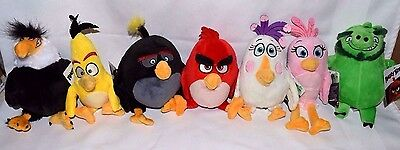 """Nwt-New- 7-7"""" Angry Birds Movie Plushes: Matilda, Red, Chuck, Bomb +More Lot-Set"""
