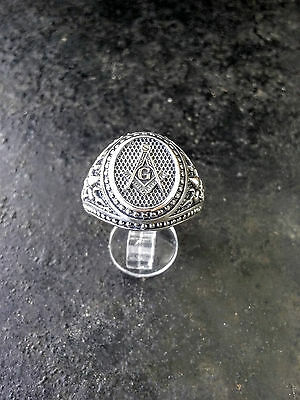 MASONIC SILVER 925 RING Mens Masonic Ring Handmade Freemasonry Fleur-de-lis Ring