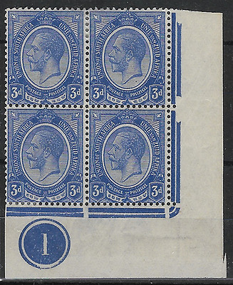 South Africa 1913 KGV SG9 3d Controlled Block of 4 with Number 1 Plate MH #2