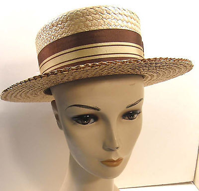 Vintage Men's Cavanagh Straw Boater Skimmer Hat Long Oval Sz 7 Very Nice