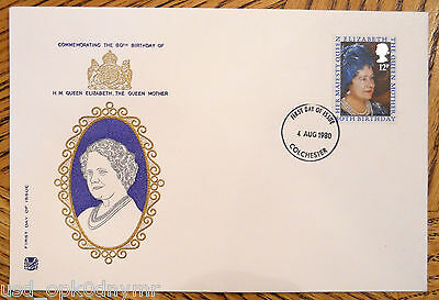 1980 First Day Cover Stamp + Envelope HM Queen Elizabeth Mother 80th Birthday