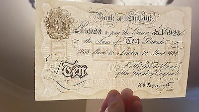 British Banknote 10 pounds 19 March 1938