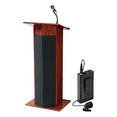 Norwood Commercial Furniture Stand-Up Lectern w/ Sound & Wireless Mic, Mahogany