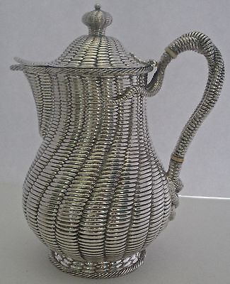 German Hessenberg .800 Fine Not Sterling Basketweave Aesthetic Coffee Pot C 1890