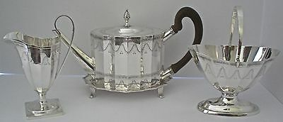 Handsome American Sterling 4 Piece Fluted Georgian Style Schofield Tea Set 1930