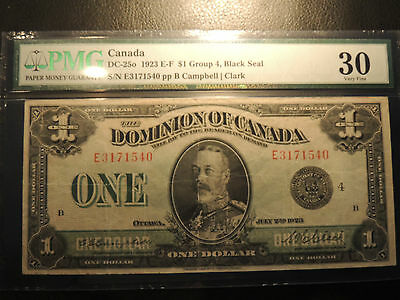1923 DOMINION OF CANADA ONE DOLLAR $ 1 DC-25o E 3171540 PMG CERTIFIED VF-30