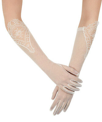 Simone Marulli Ivory Sheer Lace Elbow Embroidered Bridal Wedding Gloves