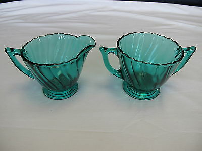 Jeannette Swirl Depression Glass Ultramarine BlueGreen Creamer & Open Sugar Bowl