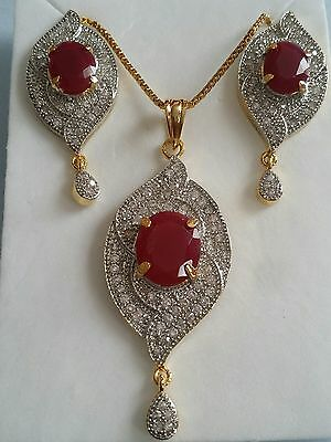 New Designer Indian Gold Plated  AD CZ Pendant & Earrings