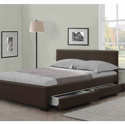 4 Drawers Leather Storage Bed Double Or King Size Beds + Memory Mattress Cheap