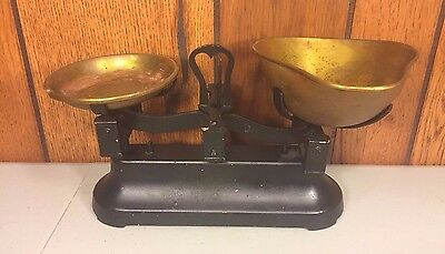 Antique Balance Scale with Brass Pans
