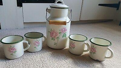 Vintage style shabby chic set of 4 enamel tin cups and milk jug rose design