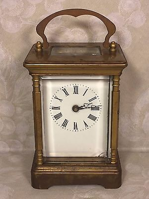 Antique French Carriage Clock Running Enamel Face w/ Key