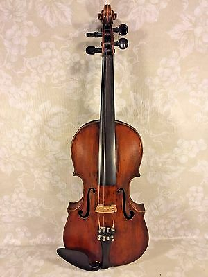 Antique Violin Inlaid Purfling w/ Case 1884 Repair Label from August Gemunder