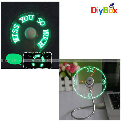 USB 2.0 LED Mini Clock Fan Cooling Flashing Real Time Display Function Portable
