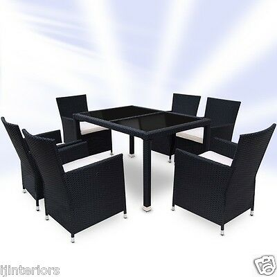 Rattan Garden Furniture Set Dining Table And 6 Chairs