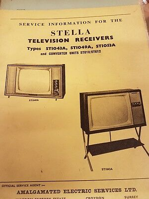 stella tv service manual type st1043a,st1049a,st1053a and converter units st610