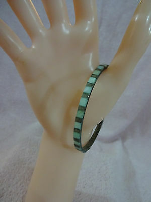 India Brass and a Blue Mother of Pearl Bangle Bracelet