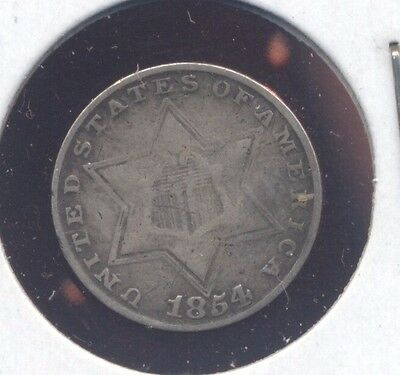 1854 SILVER 3-cent piece U.S. 3c coin. F.