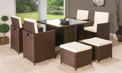 Cube Rattan Garden Furniture Set Rattan Table Chairs Outdoor Patio Brown Wicker