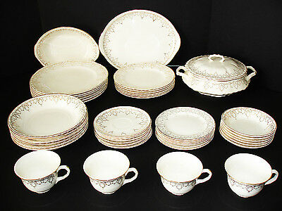 ELEGANT VINTAGE 44pc CROOKSVILLE USA DINNERWARE SET CREAM GOLD FLOWERS VINES B