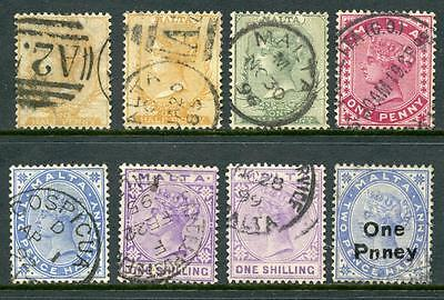 Malta QV Mix of Stamps Used, inc One Pnney Surcharge
