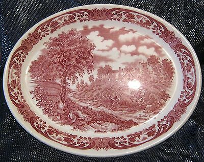 WH Grindley small Meat Platter Constable Glebe Farm Pink vintage 11¼ x 8¾ ins