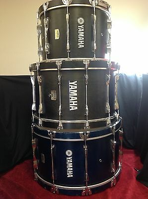 Black and Blue Yamaha Field Corps Bass Drum 26', 24', and 20' W Cases