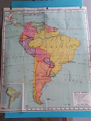 Vintage A.J. Nystrom Map of South America