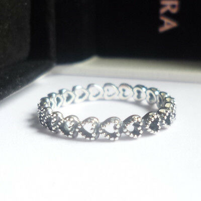 Pandora  Linked Love Hearts Ring - size optional -  ex condition!