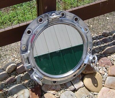 Antique 20 Inch Three-Dog Aluminum Porthole Mirror Non-Opening